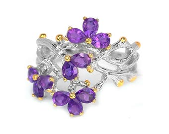 Purple Amethyst Ring, Silver Branch Ring, Twig Band Ring, February Birthstone, Flower Ring, purple ring, botanical ring, anniversary ring