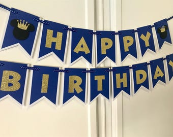 Prince Mickey Mouse Royal Blue And Gold Theme Birthday Banner Party Decoration