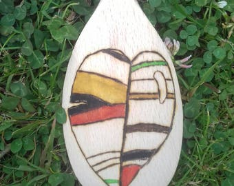 Watercolour striped leaf pyrography wooden spoon