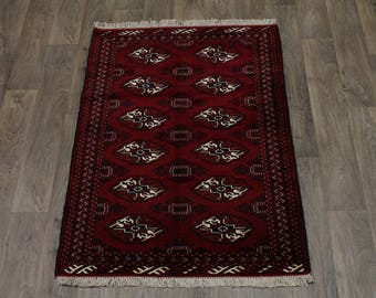 Lovely Handmade Tribal Ghoochan Turkoman Persian Area Rug Oriental Carpet 3X4