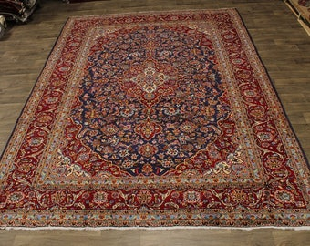 Stunning Handmade S Antique Navy Kashan Persian Rug Oriental Area Carpet 10X13