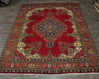 Nice Handmade Vintage Gold Washed Tabriz Persian Area Rug Oriental Carpet 10X13