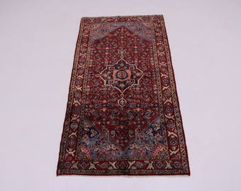 Foyer Size S Antique Handmade Red Hamedan Persian Rug Oriental Area Carpet 4X7