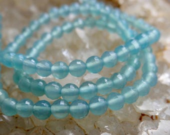 AAA Sea Blue Peruvian Chalcedony | Faceted Rounds | 4mm | Sold in Sets of 10 Beads