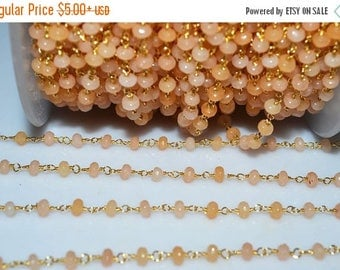 50% OFF Beautiful Peach Chalcedony Rosary Beaded Chain-Chalcedony(Jade) Faceted Gold Wire Wrapped Beaded Chain , 4 mm - RB5126