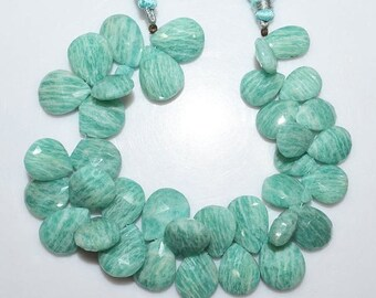 50% OFF 1 Strand Amazonite Faceted Pear Shape Beads - Amazonite Briolette , 13.5x12 - 17.5x13 mm , 7.5 Inch Strand , BL1759