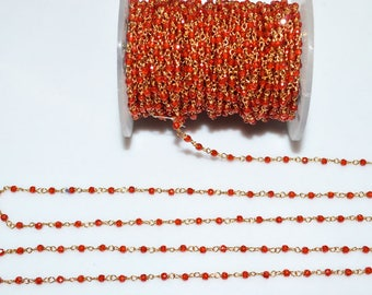 Beautiful Carnelian Cubic Zirconia Faceted Rosary Beaded Chain-Carnelian Cubic Zirconia Wire Wrapped Chain, 2.40-2.50 mm - RB5593