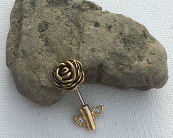 Flower Belly Button Ring, Rose Belly Button Ring, Gold Belly Button Ring, Belly Button Ring, Belly Ring Gold, Belly Rings Surgical Steel