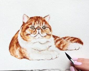 Watercolor custom pet portrait, original watercolor painting dog cat animal pet lover painting handmade wall art gift
