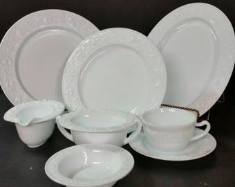 "Vintage ""Vitrock"" Anchor hocking milk glass dinner ware sets"