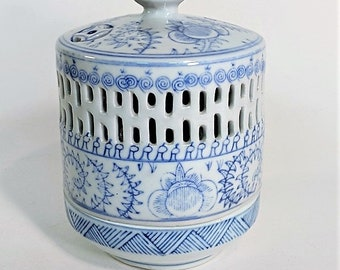 Blue and White Chinoiserie Candle Holder Votive Size Candle Hand Painted with Stylized Figures Perforations for Visual Beauty