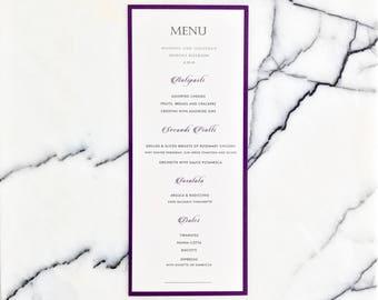 Eggplant Wedding Dinner Menu, Modern Purple Dinner Menu, Elegant Wedding Menu Cards