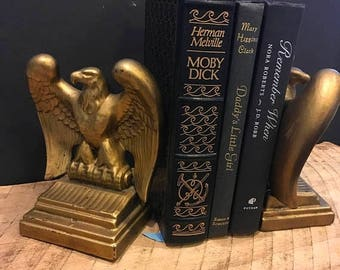 On Sale Vintage eagle bookends ceramic chalk gold shelf decor patriotic USA birds library office desk mid century Americana retro gold