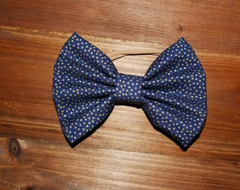 Custom large fabric gold polka dotted bow