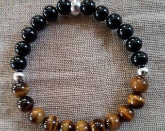 Tigers Eye Bracelet, Black Obsidian Bracelet, Tiger Eye Bracelet, Brown Bracelet, Black Bracelet, Beaded Bracelet