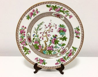 Vintage Spode Copelands bone china 'Indian tree' plate, hand painted with gild, transferware,