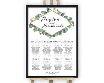 PRINTABLE Wedding Seating Chart, Greenery Geometric Seating Chart, DIY Seating Chart, White, Botanic, Rose Gold, Reception, Digital (Peyton)