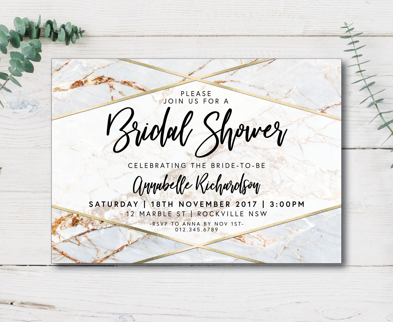 White and Gold Geometric Marble Bridal Shower Invitation, White ...
