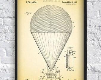 Balloon print patent art print vintage antique print wall art print home decor dorm room decor kitchen decor 8x12 12x16