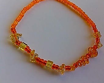 Crystal Gemstone Anklet,Citrine,women,stretch,genuine,chips,beaded,summer jewelry,unique,colorful,gift,inexpensive,boho,trendy