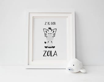 "Zebra Animal Print w/ Custom Baby Name 8.5""x11"""