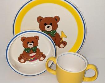 Vintage Mikasa Teddy Bear Set, Vintage Teddy Bear Dishes, Mikasa Dinnerware, Vintage Children's Dish Set