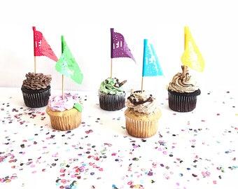 Papel picado mini flags, papel picado, fiesta decorations, mexican party decorations, fiesta party decorations, mexican party, set of 10