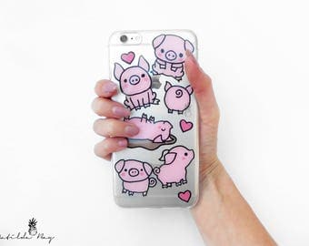Pig Piggy Phone Case featuring Cute Pink Pigs Hand Painted for iPhone or Samsung