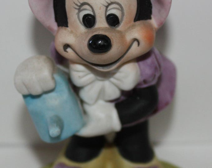 Minnie Mouse in Pink Bonnet Watering the Flowers Figurine Walt Disney Production