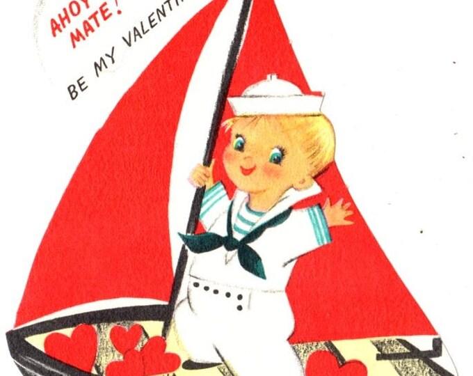 Vintage Boy Sailor Ahoy Mate Be My Valentine Die-Cut Children's Classroom Valentine's Day Card UNUSED
