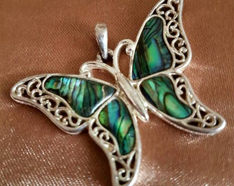 Abalone Silver Tone Butterfly Necklace Pendant Jewellery Jewelry Accessories