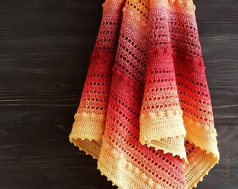 Crochet shawl, knitted triangular shawl, oversized lace shawl, cotton shawl Golden Autumn