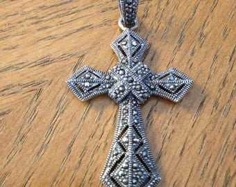 Sterling Silver Marcasite Cross