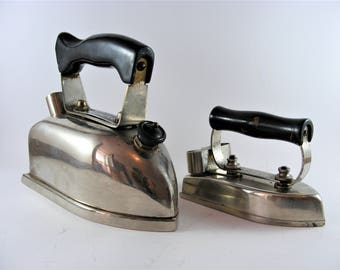 Antique 1930s Electric Irons VDE Superb Steam Iron And Metallum Iron