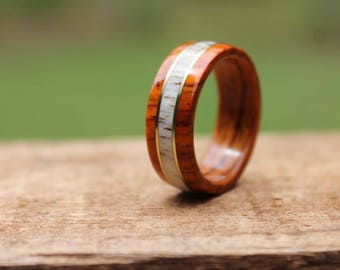 Cocobolo Antler Wood Ring with Brass - Mens Wooden Ring  Wooden Wedding Band  Engagement Ring  Anniversary Gifts for Men  Wood Jewelry