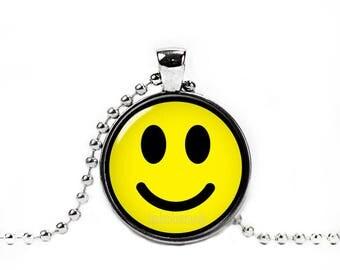 Smiley Necklace Smiley Face Pendant Emoticon Emoji Happy Face Fandom Jewelry Fangirl Fanboy