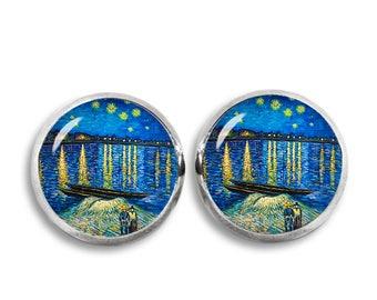 Starry Night Over the Rhone Stud Earrings Van Gogh Earrings Van Gogh painting Earrings Art Jewelry