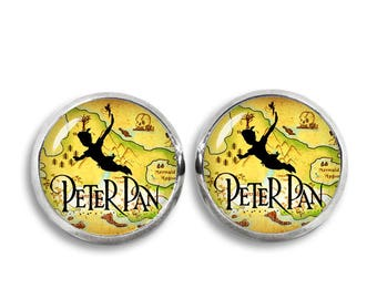 Peter Pan Stud Earrings Peter Pan Earrings Flying over Neverland Peter Pan Jewelry Cosplay Fangirl Fanboy