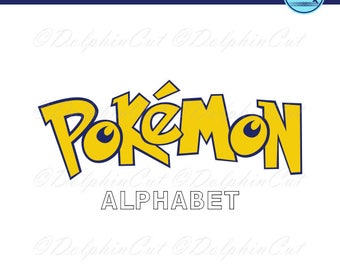 Pokemon Alphabet, blue, yellow letters, digital picture for make logo, cut, scrapbooking png, svg, dxf, eps vector, printable studio files