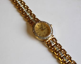 Le Cheminant Ladies Dainty Crystal Gold Dinner Date Wrist Watch - Beautiful & Unique