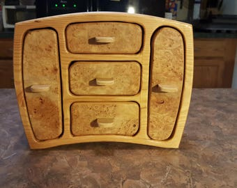 Bandsaw box made from douglas fir with maple burl veneer
