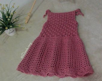 pleated dress crochet and handmade by mon petit violon