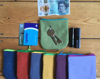Travel lightly with a small zip up Coin purse, Make up Bag, Change Purse, Card Holder, Earphones Carrier
