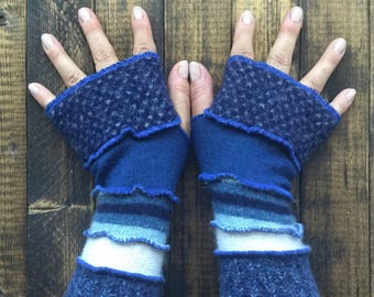 Midnight Blue Fingerless Gloves Made from Recycled Sweaters