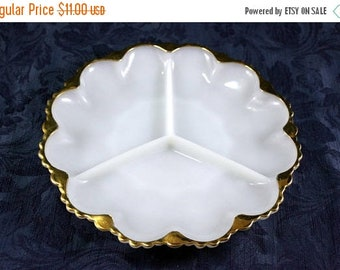ON SALE Vintage Fire King Anchor Hocking 3-Part Divided Relish Dish, Milk Glass, Vintage from 1960s