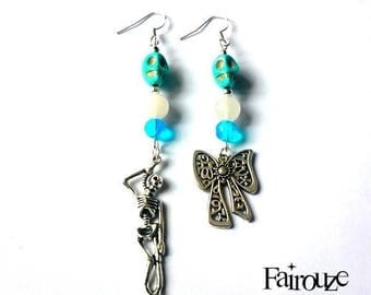 "Earrings original silver hooks 925 ""Blue hung"", jade, pastel goth, pastel grunge, rock, faith"