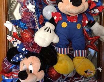 Mickey and Minnie Patriotic Deco Mesh Swag Wreath