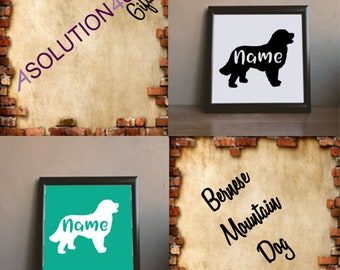 Bernese Mountain Dog Vinyl Decal with Name
