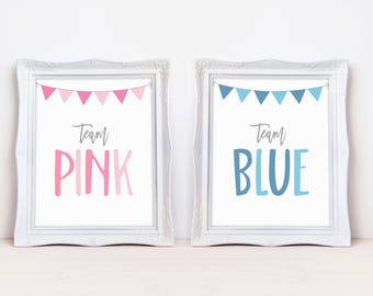 "Team Pink Team Blue 8""x10"" Printable Party Sign Set 