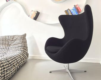 Design Vintage Black Egg Chair Retro Swivel Armchair Jacobsen style